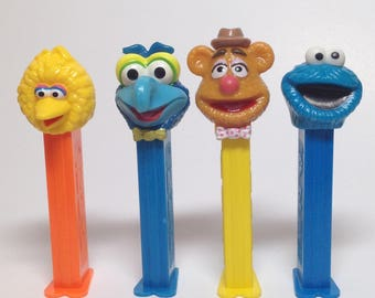 Sesame Street Muppets Four Pez collection - LOT of 4 - RETIRED - Big Bird, Gonzo, Fozzie Bear  and Cookie Monster