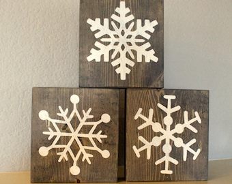 Wooden Snowflakes Etsy