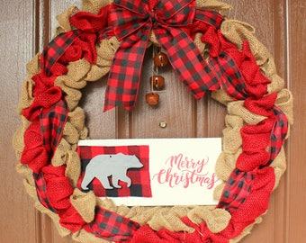Buffalo Plaid Christmas Wreath, Merry Christmas Wreath, Burlap Wreath, Burlap and Buffalo Plaid, Black Bear