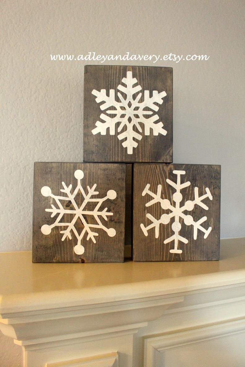 Large Wooden Snowflakes Snowflake Blocks Wooden Snowflakes Wooden Decor Christmas Decor Holiday Decor Handcrafted Wood