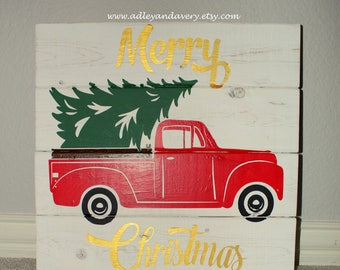 Rustic Christmas Sign, Wooden Sign, Truck and Tree Sign, Merry Christmas Sign, Holiday Sign