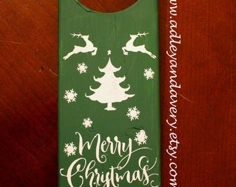 Reindeer Merry Christmas Door Hanger, Green Door Hanger, Wooden Door Hanger, Merry Christmas Door Hanger