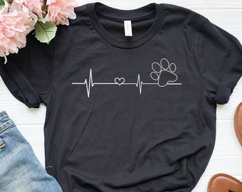 19254cc3f65a Paw Heartbeat Shirt, Dog Lover Shirt, Funny Dog Shirt, Dog Mom Shirt, Cute  Dog Shirt, Dog Mom Gift, Veterinarian Shirt, Dog Rescue Shirt