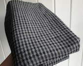 Grey black check plaid tartan medium weight wool dressmaking fabric