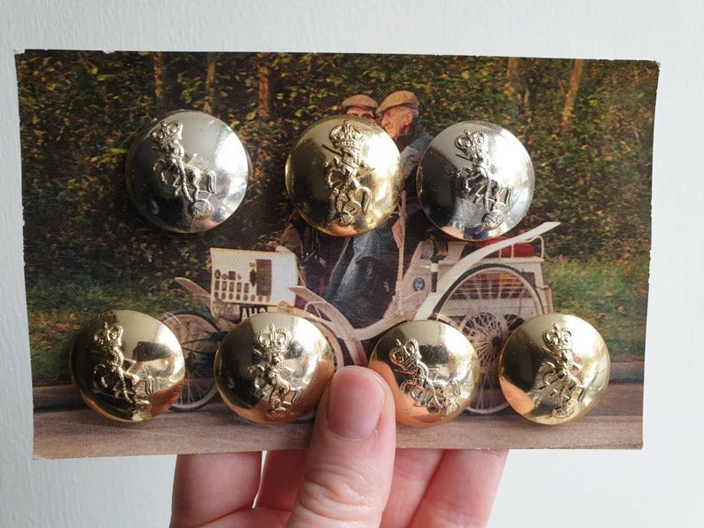 Set of 15 large authentic vintage military brass buttons with horse and  crown for dressmaking knitting sewing crafting