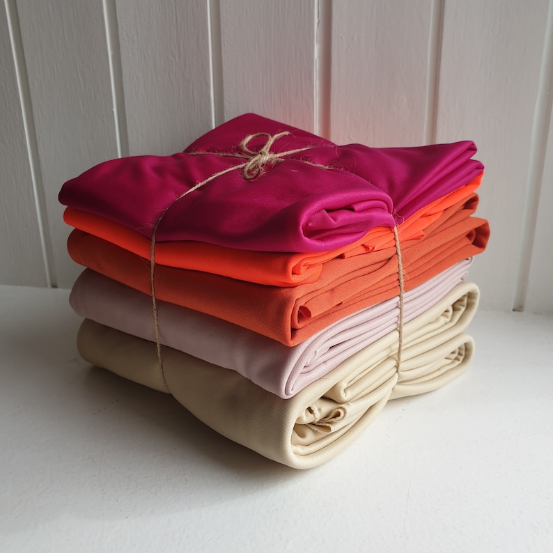 Set of 5 large remnants ombre coordinating stretch jersey dressmaking fabric 1.2kg of fabric
