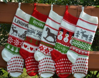 hand knitted christmas stocking home decor personalized christmas stocking