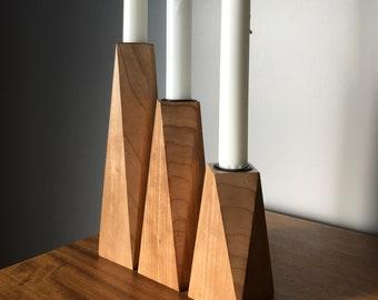 Hardwood Candle Holder Set of 3