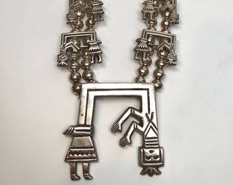 Yei Navajo Necklace, Sterling Silver