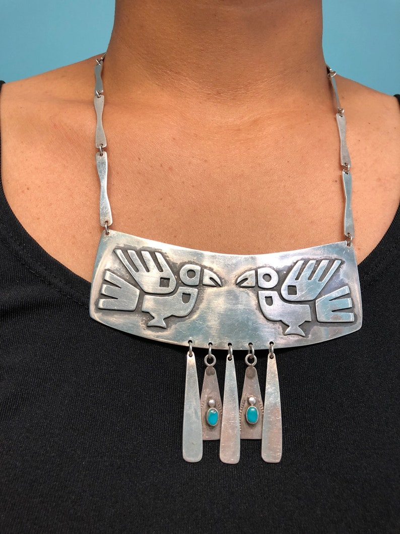 975 Silver Large Breastplate Twin Bird Necklace
