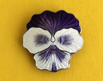 Purple Pansy Sterling Brooch
