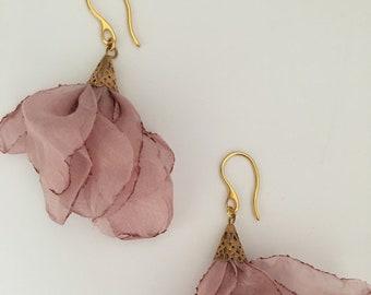 Gift for her, Chiffon Flower Earrings, Long Drop Dangle Earrings, Light Pink