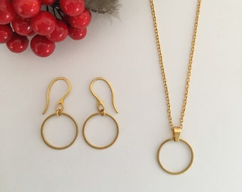 Gold Circle Necklace and Earring Set, Gift for Her Christmas, Karma Necklace, Pendant Set, Open Circle Necklace,  Stocking Stuffer Filler