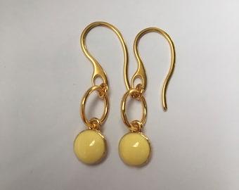 Gift for her, Circle Earrings, Circle Pendant Earrings, Yellow Dangle Earring, Gold drop Earring, Simple Gold Earrings