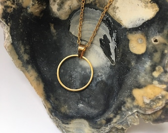 Gift for her, Gold Circle Necklace, Karma Necklace, Good Vibes, Open Circle Necklace, Christmas Gift for Her