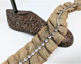 13.5m Natural Burlap Jute Braid Trimming Width 11mm Floristic Ribbons Cords A...