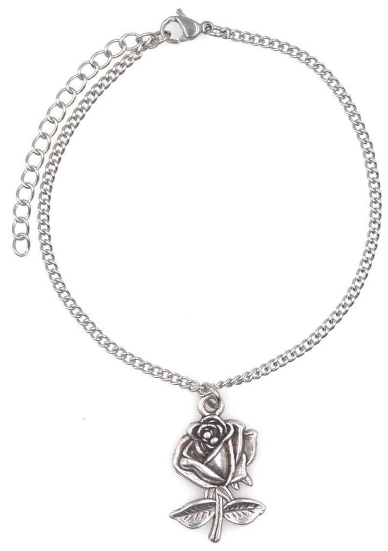 """9.5/"""" Stainless Steel Ankle Bracelet with Alloy Pentacle 5 Pointed Star Pentagram 52W Its All About...You 7.5/"""""""