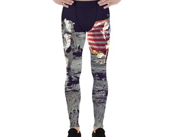 a2910898d8 Astronaut Saluting American Flag Running Cycling Crossfit Workout Muscle Gym  Yoga Men's Leggings