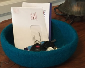 Felted Wool Bowl, Turquoise Blue Extra Wide Bowl, Desk Organizer, Home Decor