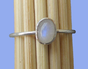 Stackable Ring, Genuine Moonstone 6mm x 4mm Cabochon, Argentium® Sterling, Handmade