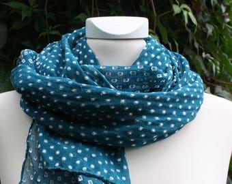 Silk-polka dots-scarf, petrol, silk chiffon, spotted