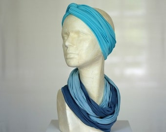 Silk Jersey Round Scarf, Turquoise