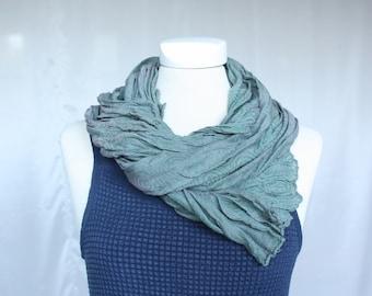 Silk linen scarf in turquoise-purple