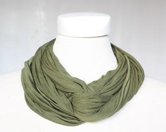 Silk Jersey -Round Scarf, olive green dark