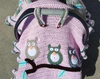 Infant Baby Handmade OWL Car Seat Canopy Cover 100 Turkish Yarn Multi Functional Blanket Pockets FREE SHIPPING