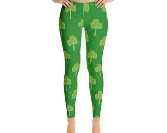 St Patrick's Day, Leaf Clover, Shamrock, Womens Leggings, Saint Patricks Day, Saint Pattys Day, Shamrock Leggings, Clover, Green Leggings