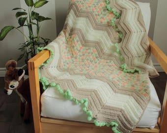 Baby blanket - mint & peach