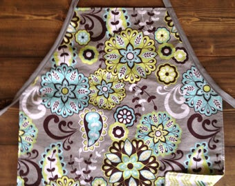 Grey and Green Child's reversible apron