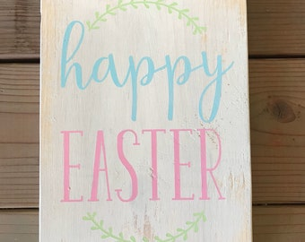 Happy Easter Stenciled Wood Sign - home decor, kitchen sign, hostess gift, spring, farmhouse