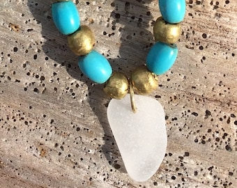 Turquoise  seaglass necklace