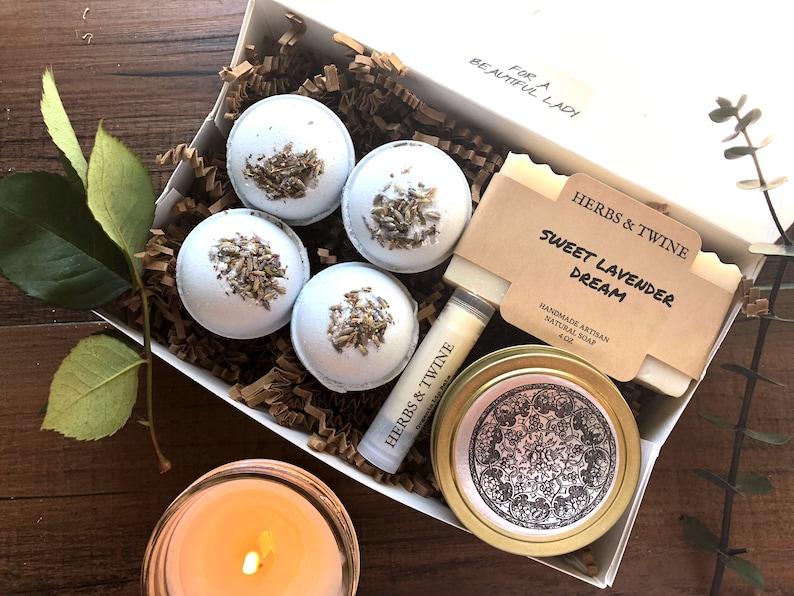 Lavender Spa Gift Set Bath Bomb Birthday For