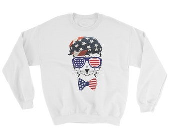 American Cat Sweatshirt // United States Sweater // Cat Lovers Sweater // 4th of July Sweatshirt // Independence Sweater // USA Cat Sweater