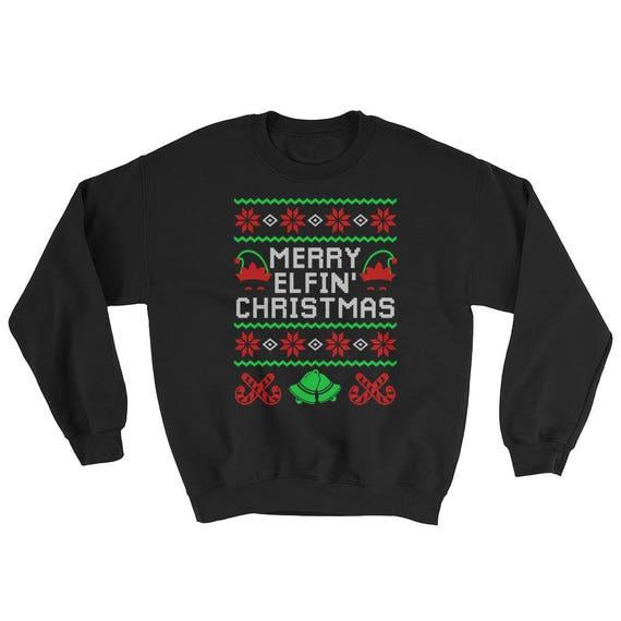 Merry Elfin Christmas Sweatshirt Snowflakes Ugly Elf Etsy