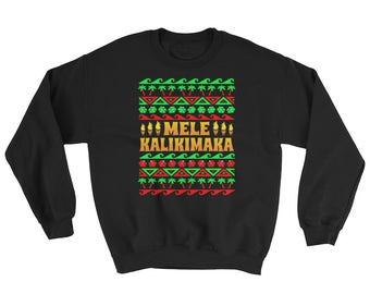 Mele Kalikimaka Sweatshirt // Hawaiian Christmas Sweater // Xmas Gift Idea Sweater // Funny Hawaii Sweatshirt