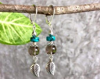 Turquoise and Smoky Quartz Earring, Drop Earring, Turquoise Jewelry, Bohemian Earring, Boho Dangle Earring.