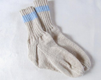 Hand Knitted Cream and Blue Striped Socks