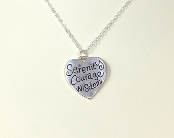 Serenity, Courage, Wisdom - Serenity Prayer Pendant, Stamped Necklace, Sobriety Gift, Recovery Gift, Christian Tenet Necklace