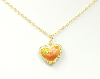 Pink Cloisonne Heart Necklace, Heart Shaped Necklace, Cloisonne Necklace, Pink and Gold Necklace