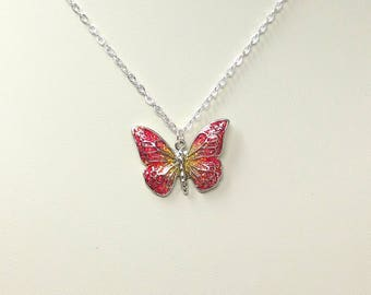 Children's Pink and Yellow Butterfly Pendant Necklace, Glitter Necklace