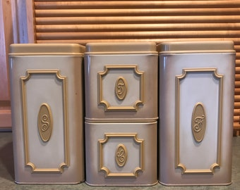 Vintage Retro  Ekco Canada Metal Canisters Set of 4