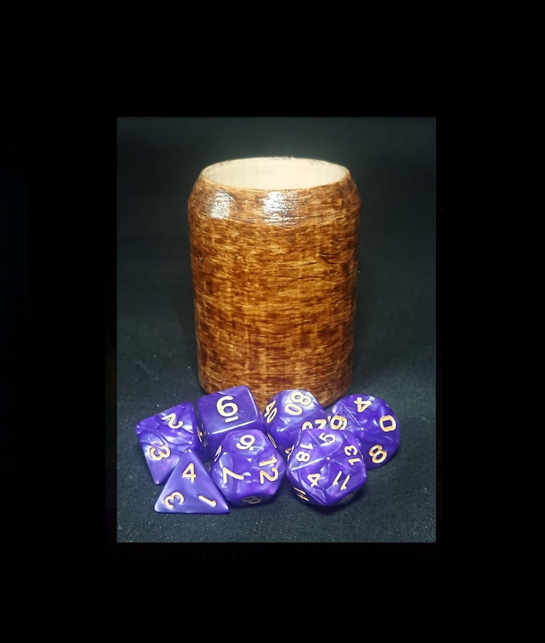 Wood Grain Cup With Purple Dnd Polyhedral Dice Set Handmade Cup With A 7 Piece Dice Set Add Optional 10 D6s Dungeons And Dragons Rpg