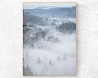 Mountain fog print,Fog print,Forest print,Nature wall art,Nature photography,Mountain fog,Nordic,Fog forest wall art,Foggy Forest Poster