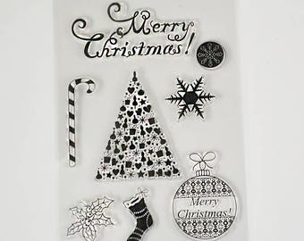 Merry christmas clear stamp candy cane snowflake rubber stamp DIY scrapbooking card making stamp tools #KH88