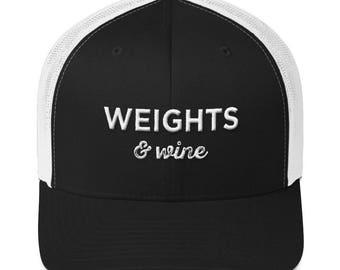 40334031205f8 Weights   Wine Trucker Cap - White Cursive