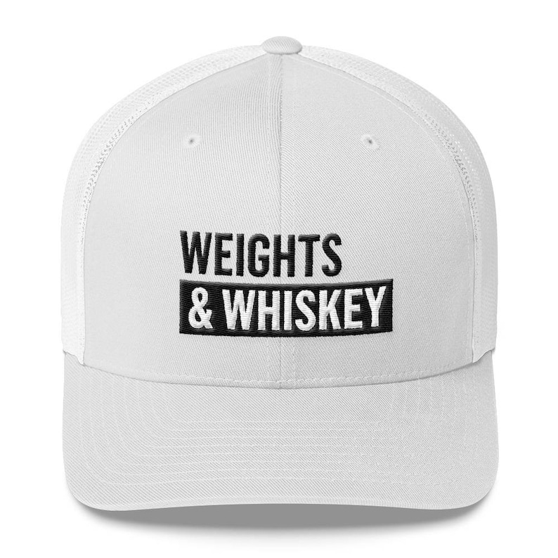 be23a16e9e3 Weights   Whiskey Trucker Hat Hat Workout Hat Gym Hat