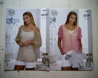 King Cole Opium Crochet Pattern 4495, Mesh Wide Necked Tunic, V neck Top